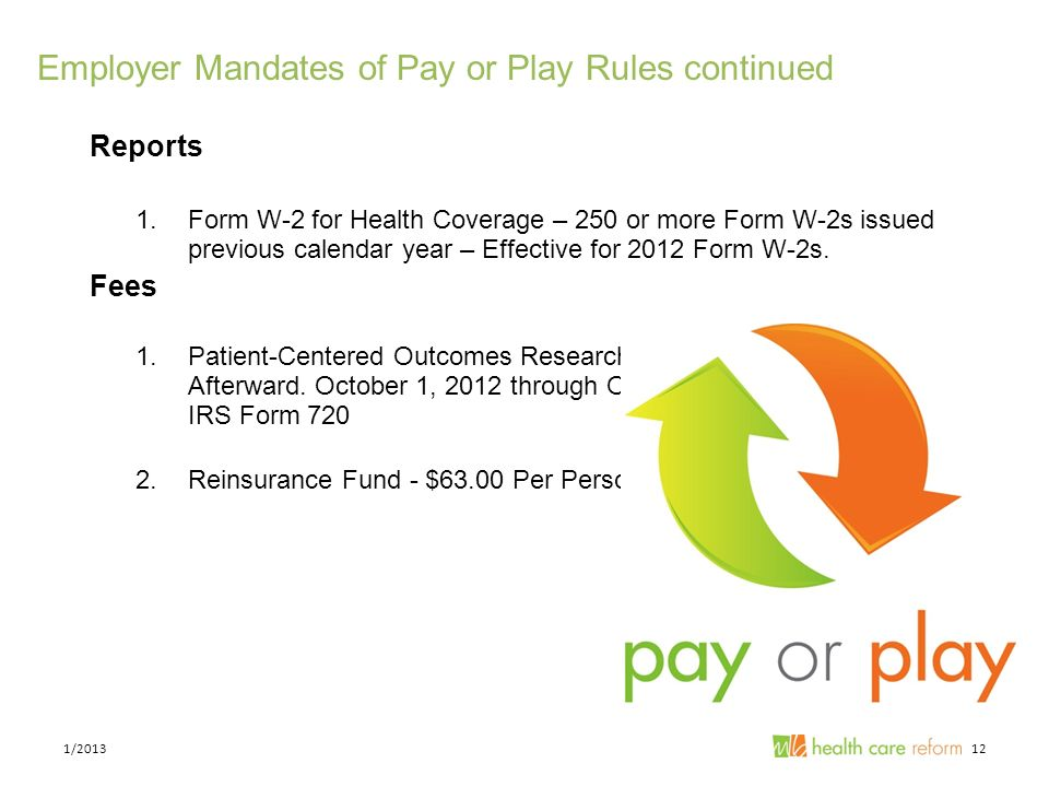 Employer Mandates of Pay or Play Rules continued Reports 1.