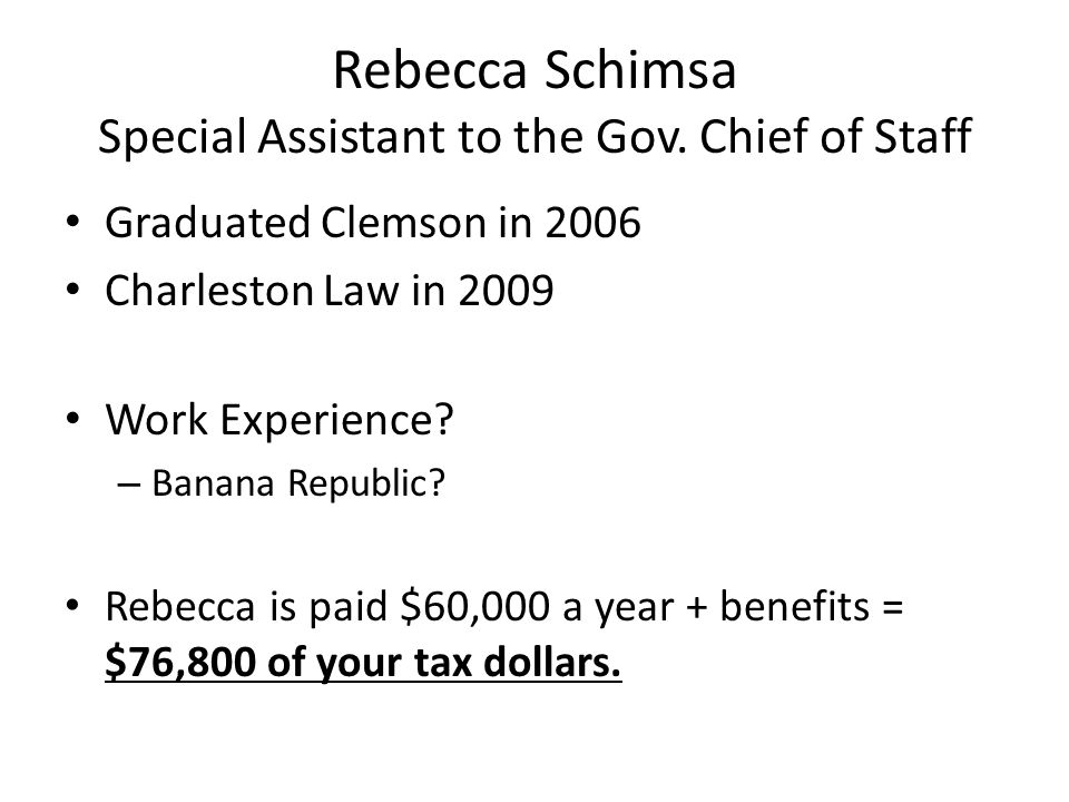 Rebecca Schimsa Special Assistant to the Gov. Chief of Staff Graduated Clemson in 2006 Charleston Law in 2009 Work Experience? – Banana Republic? Rebe