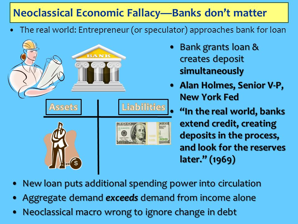 Neoclassical Economic FallacyBanks dont matter The real world: Entrepreneur (or speculator) approaches bank for loan BankBank grants loan & creates deposit simultaneously AlanAlan Holmes, Senior V-P, New York Fed InIn the real world, banks extend credit, creating deposits in the process, and look for the reserves later.