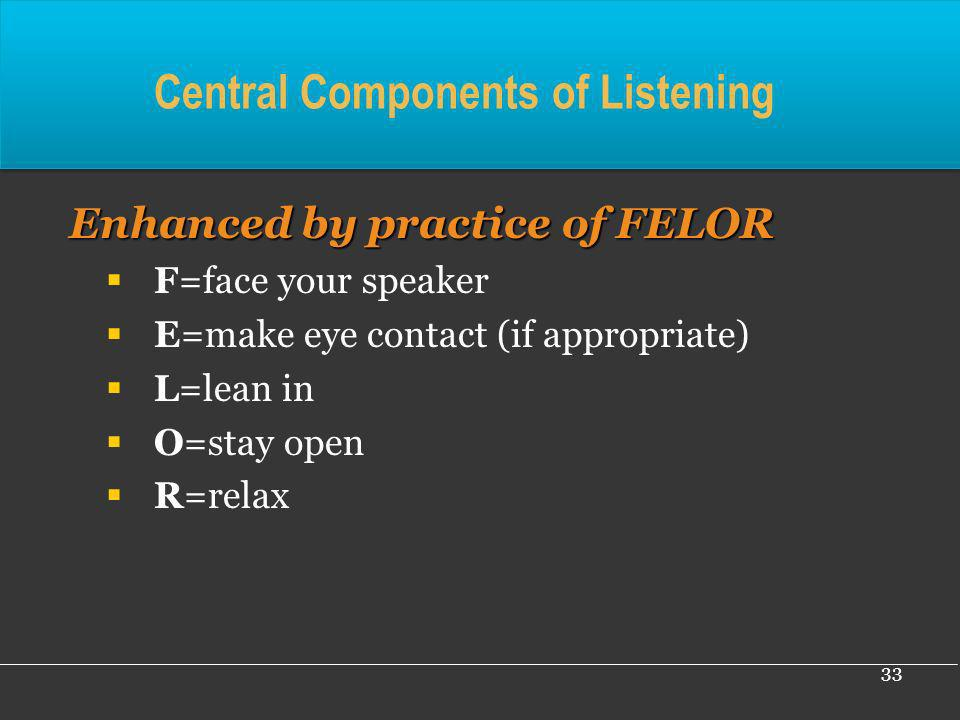 33 Central Components of Listening Enhanced by practice of FELOR Enhanced by practice of FELOR F=face your speaker E=make eye contact (if appropriate)