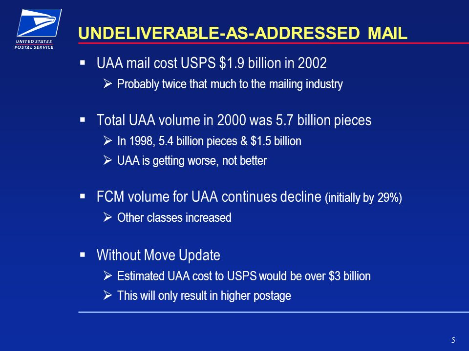 5 UNDELIVERABLE-AS-ADDRESSED MAIL UAA mail cost USPS $1.9 billion in 2002 Probably twice that much to the mailing industry Total UAA volume in 2000 wa