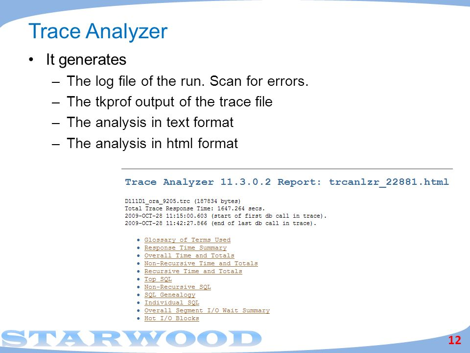 Trace Analyzer 12 It generates –The log file of the run.