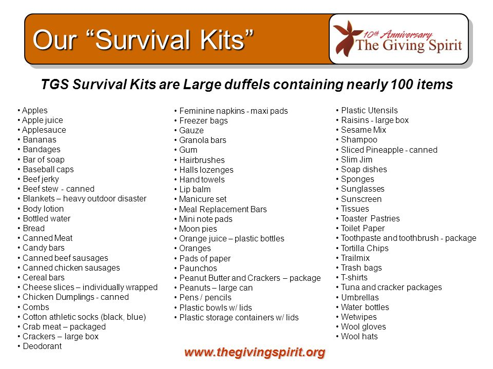 www.thegivingspirit.org TGS Survival Kits are Large duffels containing nearly 100 items Apples Apple juice Applesauce Bananas Bandages Bar of soap Bas