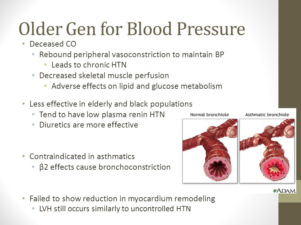 Older Gen for Blood Pressure Deceased CO Rebound peripheral vasoconstriction to maintain BP Leads to chronic HTN Decreased skeletal muscle perfusion A