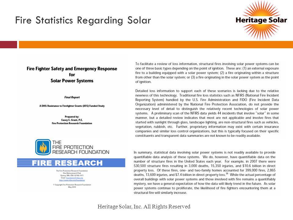 Fire Statistics Regarding Solar Heritage Solar, Inc. All Rights Reserved
