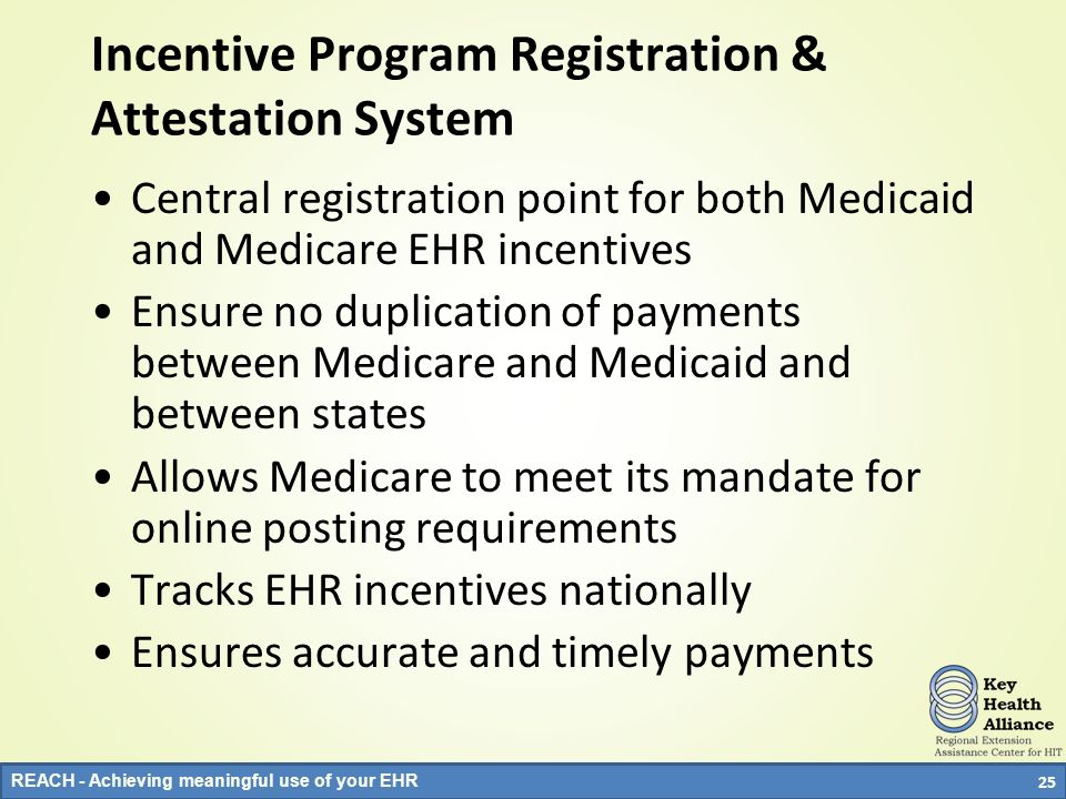 REACH - Achieving meaningful use of your EHR Incentive Program Registration & Attestation System Central registration point for both Medicaid and Medi