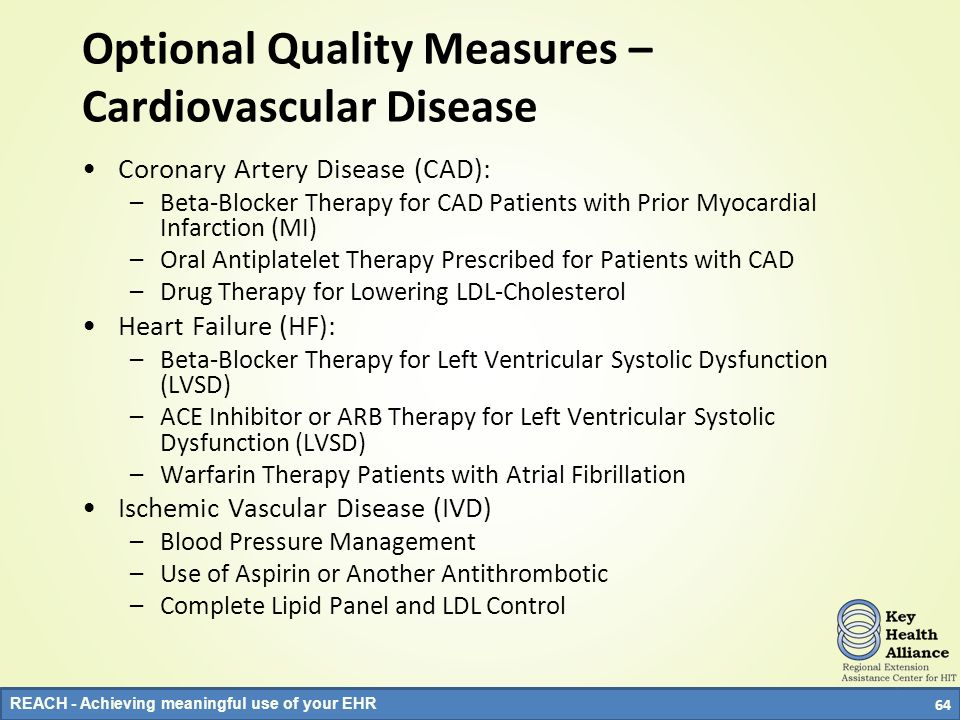 REACH - Achieving meaningful use of your EHR Optional Quality Measures – Cardiovascular Disease Coronary Artery Disease (CAD): –Beta-Blocker Therapy f