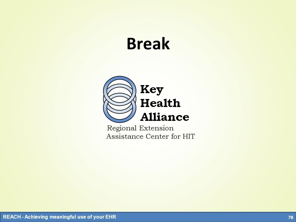 REACH - Achieving meaningful use of your EHR Break 78