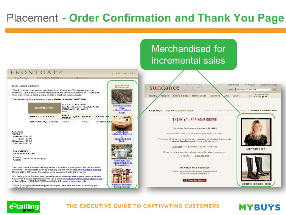 Placement - Order Confirmation and Thank You Page Merchandised for incremental sales