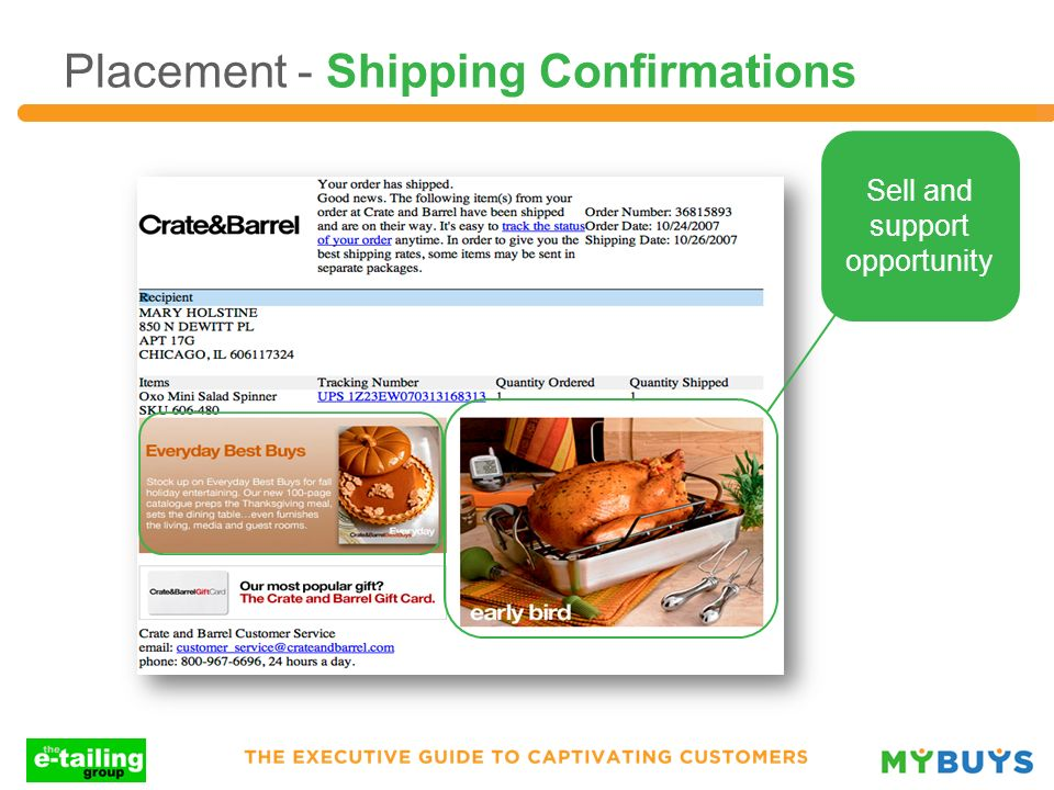 Placement - Shipping Confirmations Sell and support opportunity