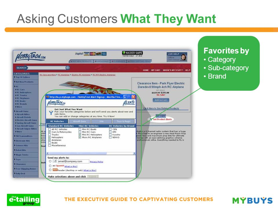 Asking Customers What They Want Favorites by Category Sub-category Brand