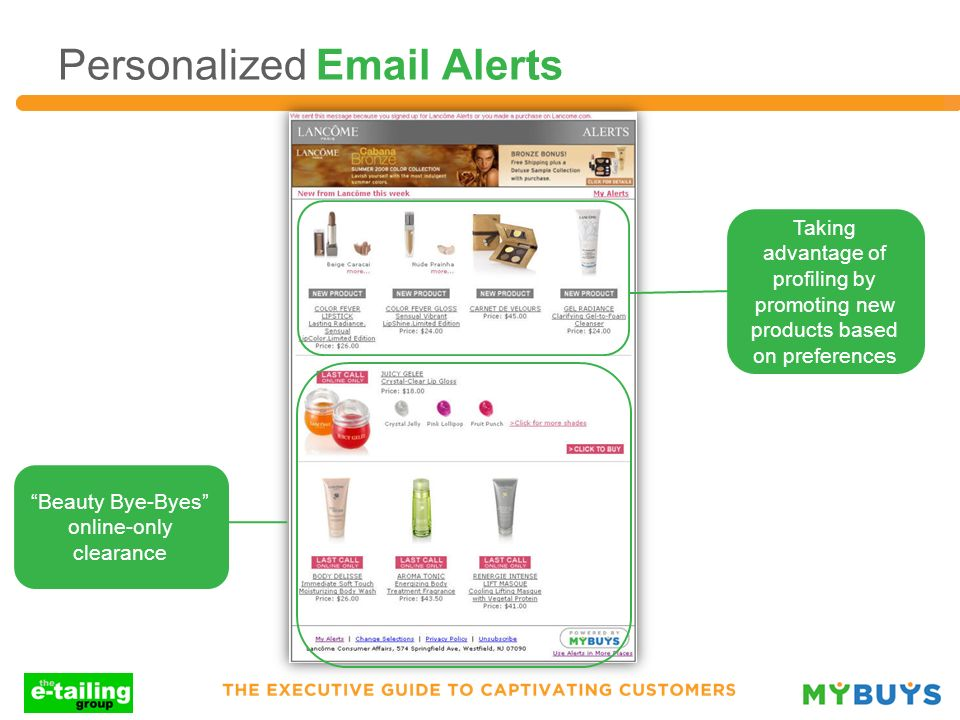 Personalized Email Alerts Taking advantage of profiling by promoting new products based on preferences Beauty Bye-Byes online-only clearance