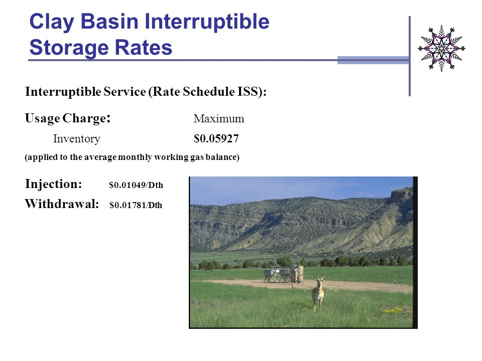 Interruptible Service (Rate Schedule ISS): Usage Charge : Inventory Maximum $0.05927 (applied to the average monthly working gas balance) Customers wi