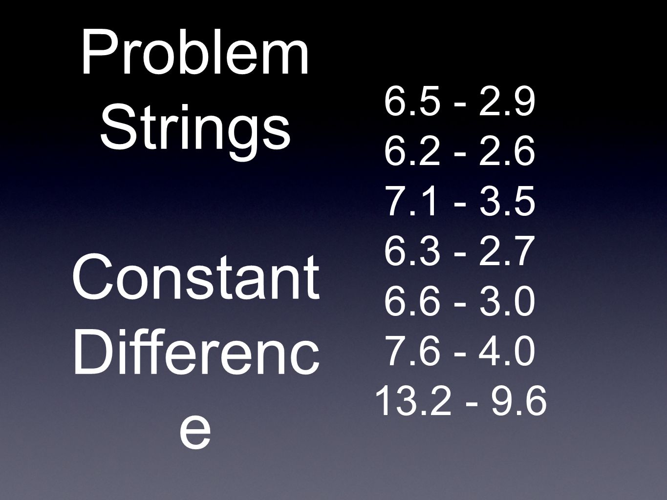 6.5 - 2.9 6.2 - 2.6 7.1 - 3.5 6.3 - 2.7 6.6 - 3.0 7.6 - 4.0 13.2 - 9.6 Problem Strings Constant Differenc e