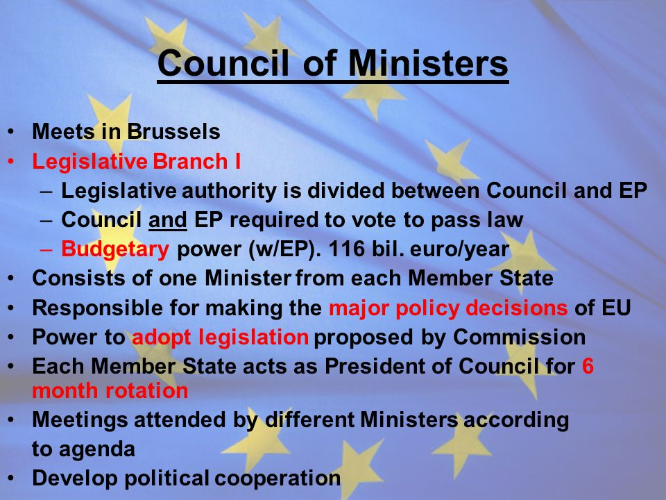 Council of Ministers Meets in Brussels Legislative Branch I –Legislative authority is divided between Council and EP –Council and EP required to vote