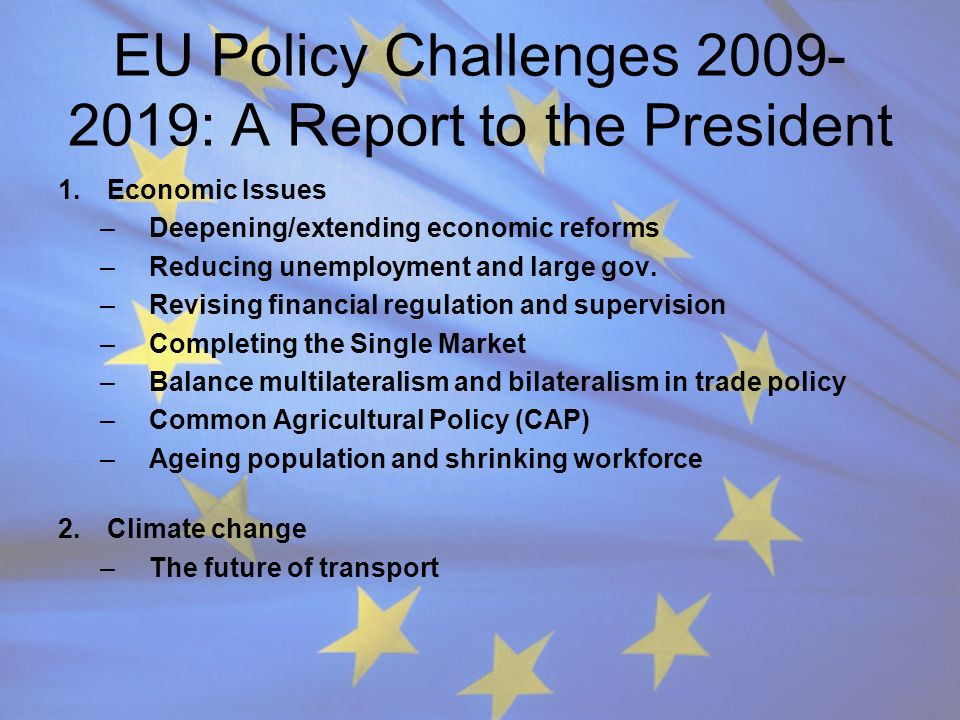 EU Policy Challenges 2009- 2019: A Report to the President 1.Economic Issues –Deepening/extending economic reforms –Reducing unemployment and large go