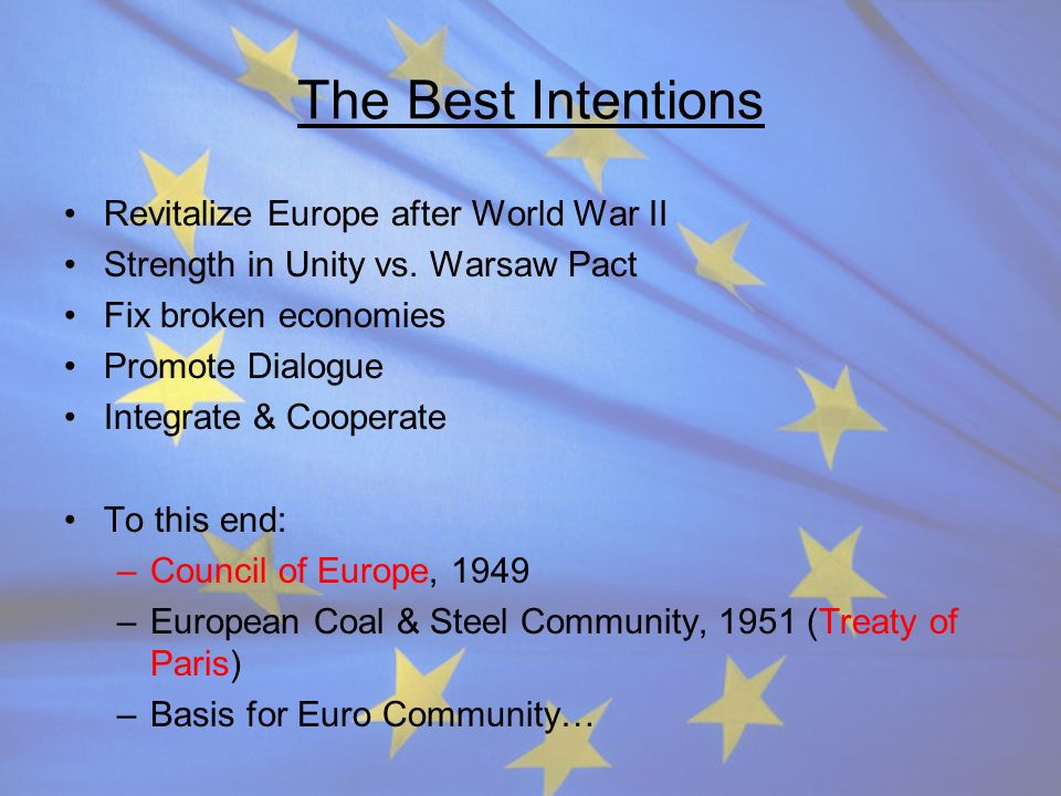 The Best Intentions Revitalize Europe after World War II Strength in Unity vs. Warsaw Pact Fix broken economies Promote Dialogue Integrate & Cooperate