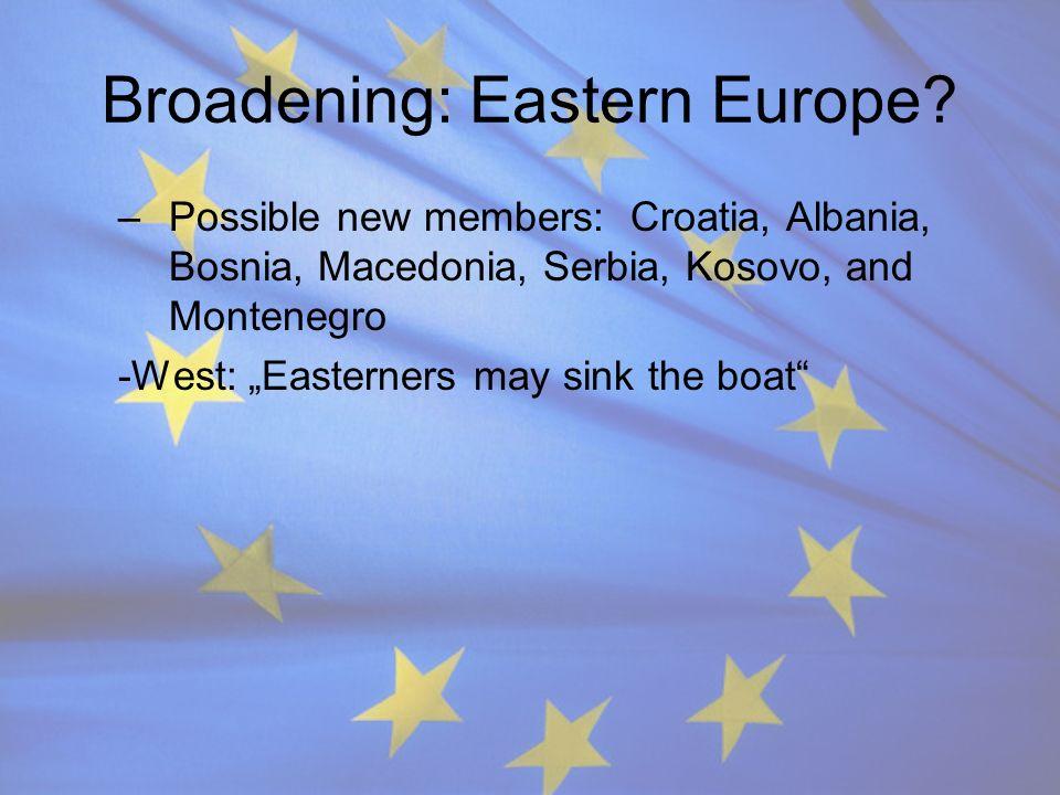 Broadening: Eastern Europe? –Possible new members: Croatia, Albania, Bosnia, Macedonia, Serbia, Kosovo, and Montenegro -West: Easterners may sink the