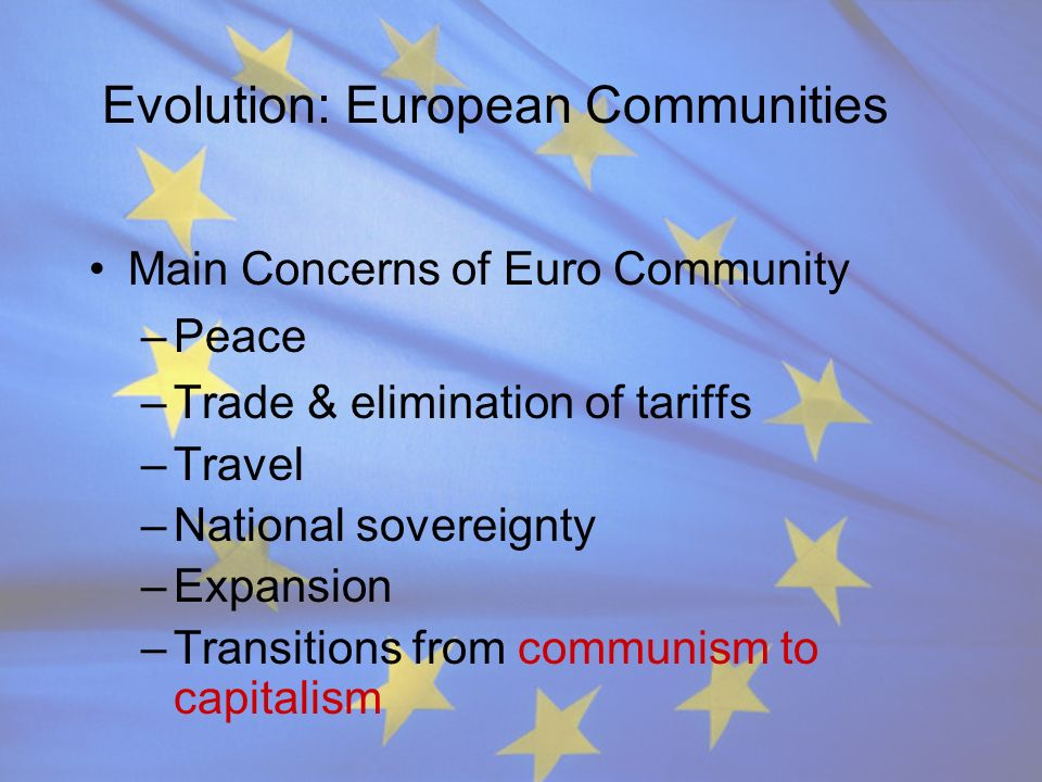 Evolution: European Communities Main Concerns of Euro Community –Peace –Trade & elimination of tariffs –Travel –National sovereignty –Expansion –Trans
