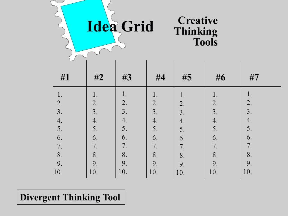 Creative Thinking Tools Idea Grid #1#2 #3#4#5#6#7 1. 2. 3. 4. 5. 6. 7. 8. 9. 10. 1. 2. 3. 4. 5. 6. 7. 8. 9. 10. 1. 2. 3. 4. 5. 6. 7. 8. 9. 10. 1. 2. 3