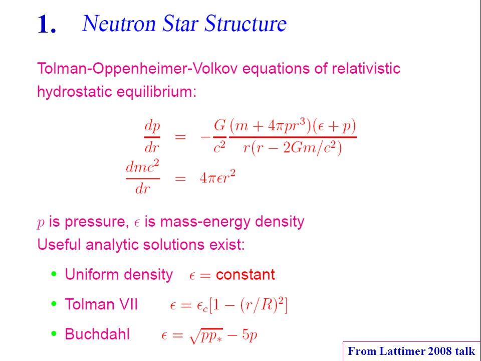 TOV equation From Lattimer 2008 talk 1.