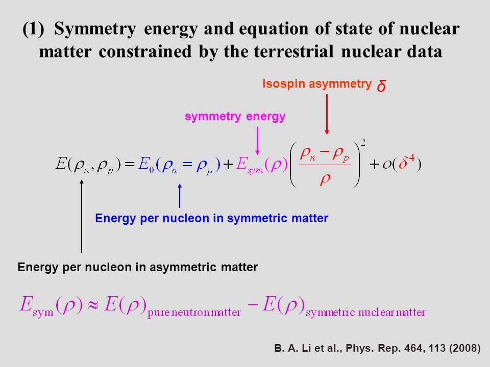 symmetry energy Energy per nucleon in symmetric matter Energy per nucleon in asymmetric matter δ Isospin asymmetry (1) Symmetry energy and equation of state of nuclear matter constrained by the terrestrial nuclear data B.