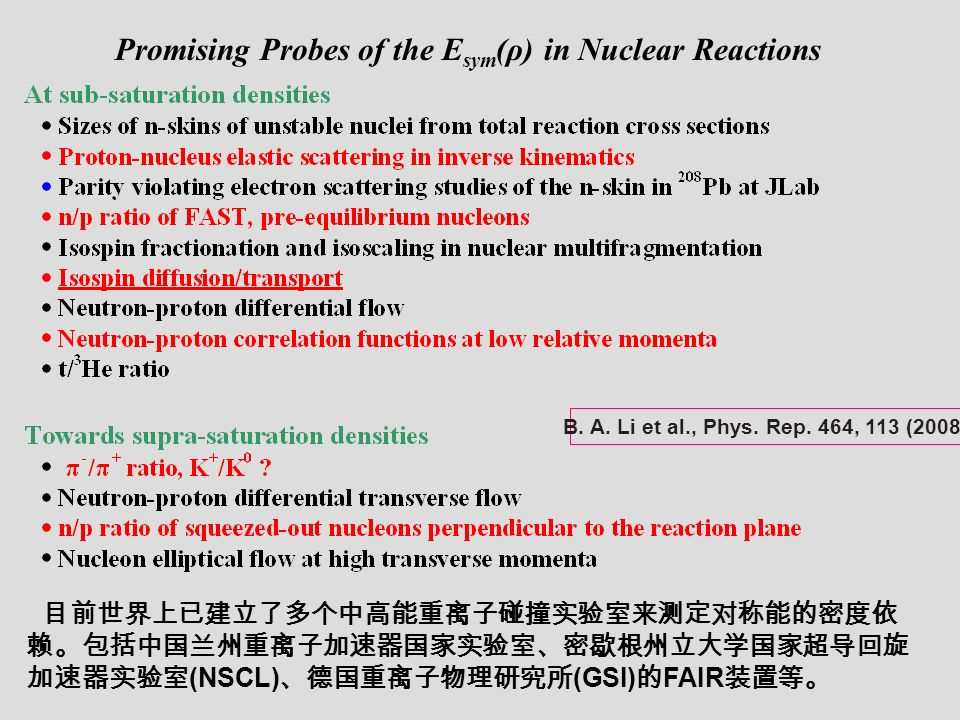 Promising Probes of the E sym (ρ) in Nuclear Reactions (NSCL) (GSI) FAIR B.