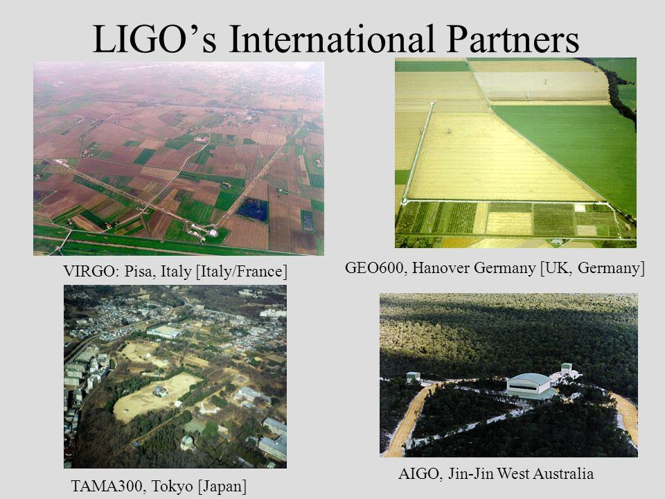 LIGOs International Partners VIRGO: Pisa, Italy [Italy/France] GEO600, Hanover Germany [UK, Germany] TAMA300, Tokyo [Japan] AIGO, Jin-Jin West Australia