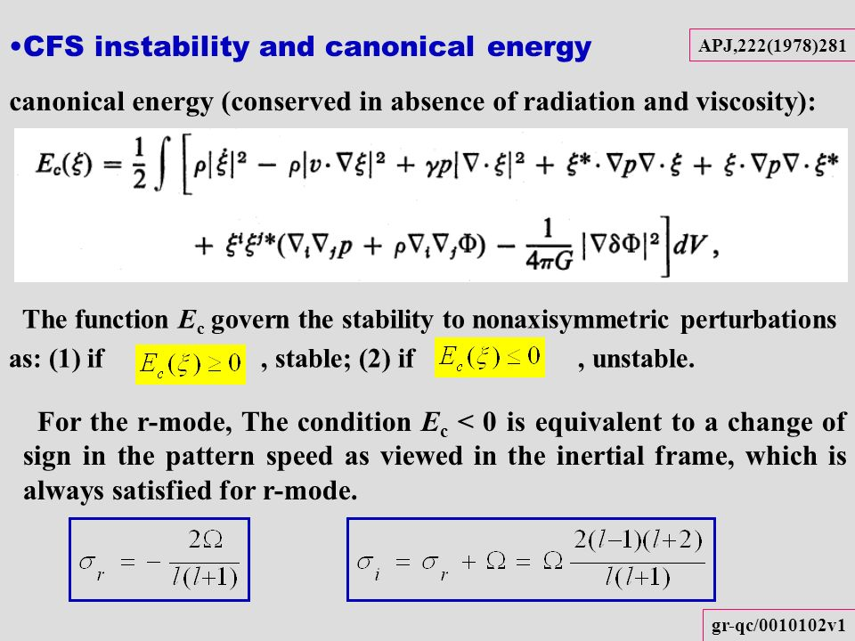 CFS instability and canonical energy APJ,222(1978)281 The function E c govern the stability to nonaxisymmetric perturbations as: (1) if, stable; (2) i