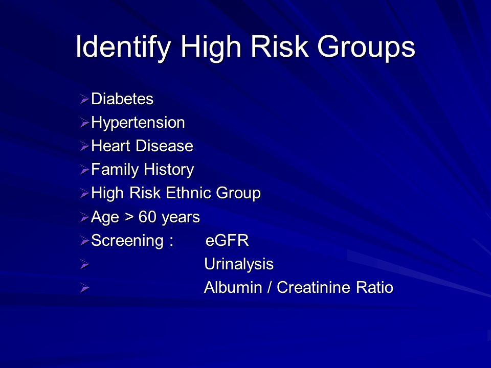 Identify High Risk Groups Diabetes Diabetes Hypertension Hypertension Heart Disease Heart Disease Family History Family History High Risk Ethnic Group