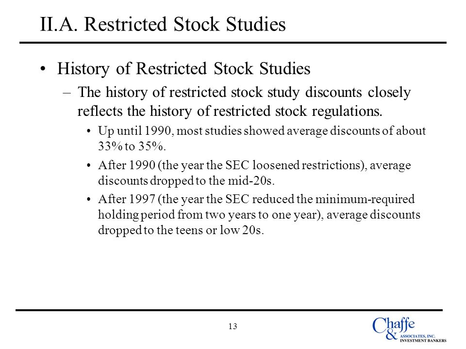 13 II.A. Restricted Stock Studies History of Restricted Stock Studies –The history of restricted stock study discounts closely reflects the history of