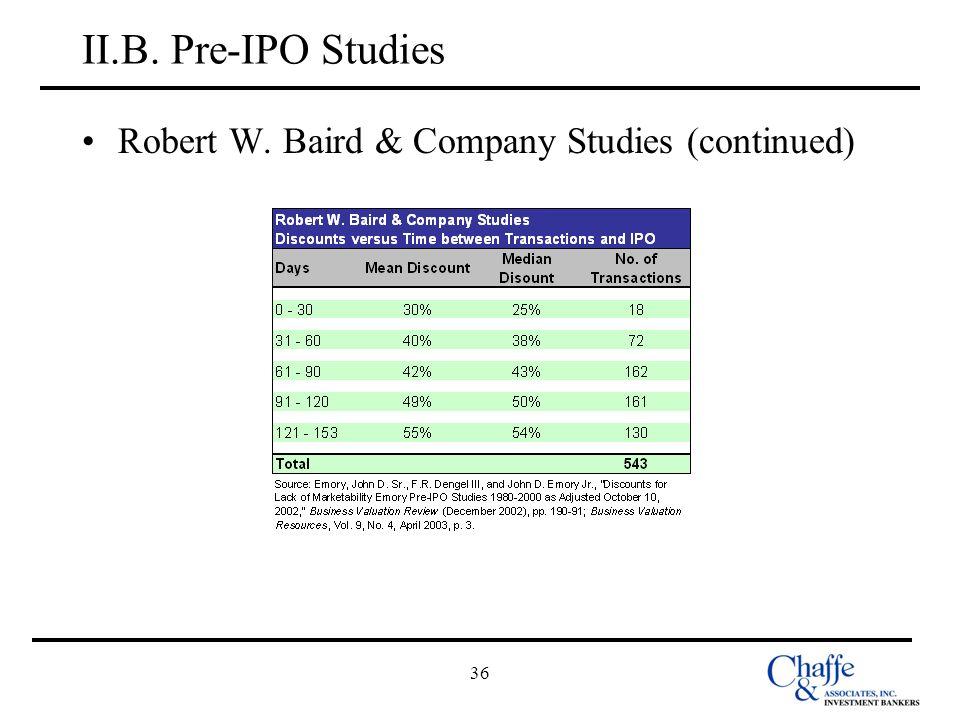 36 II.B. Pre-IPO Studies Robert W. Baird & Company Studies (continued)