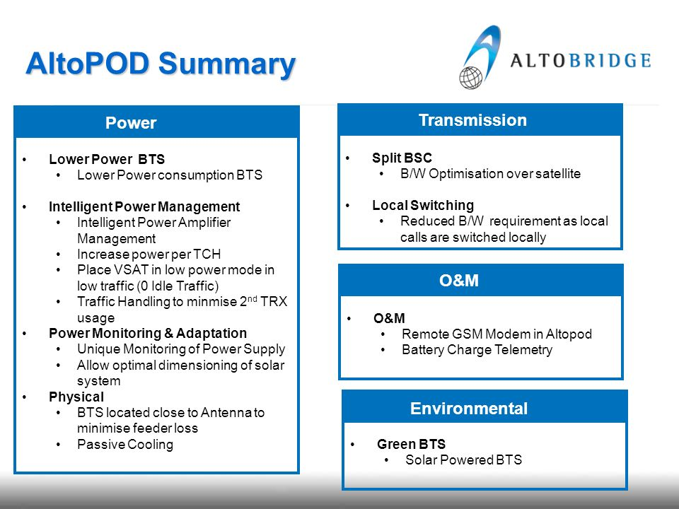 AltoPOD Summary Split BSC B/W Optimisation over satellite Local Switching Reduced B/W requirement as local calls are switched locally Transmission Low