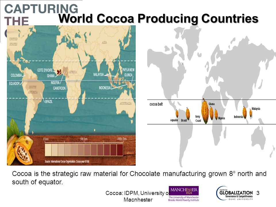 World Cocoa Producing Countries World Cocoa Producing Countries Cocoa is the strategic raw material for Chocolate manufacturing grown 8° north and sou
