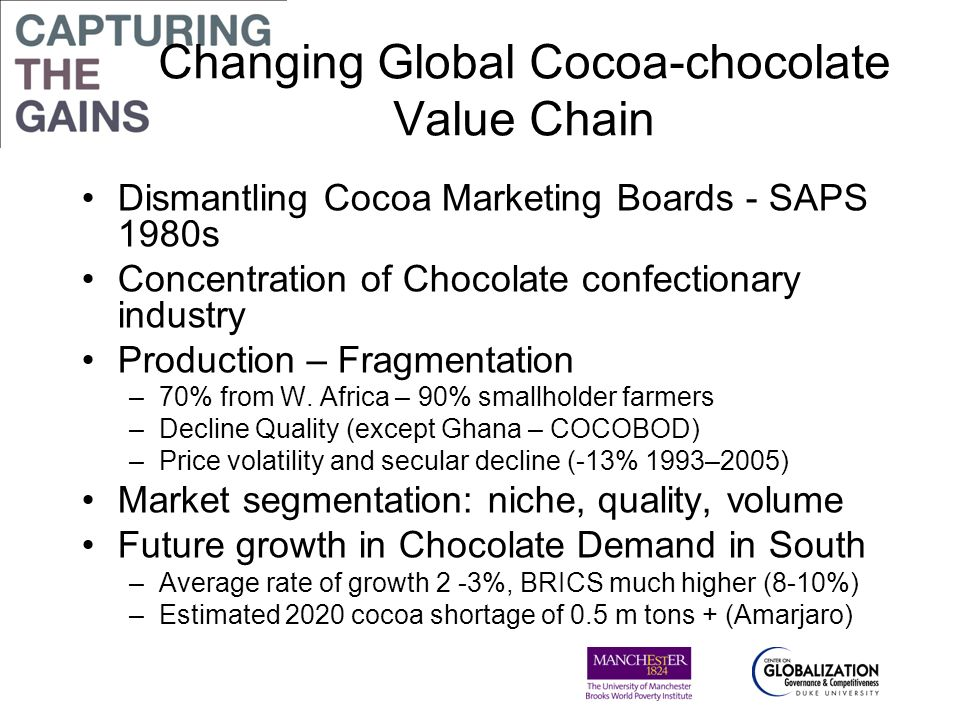 Challenges to socio-economic sustainability (Ghana) Profile: ageing smallholder farmers (51 years) Low yields (40% of potential) Poverty ( Mean per capita daily income $0.42 cocoa alone, $0.63 from all sources) Child labour Poor social infrastructure (water, health, schools, transport) Youth aspiration - to leave cocoa Risk to long term socio-economic sustainability of cocoa sourcing