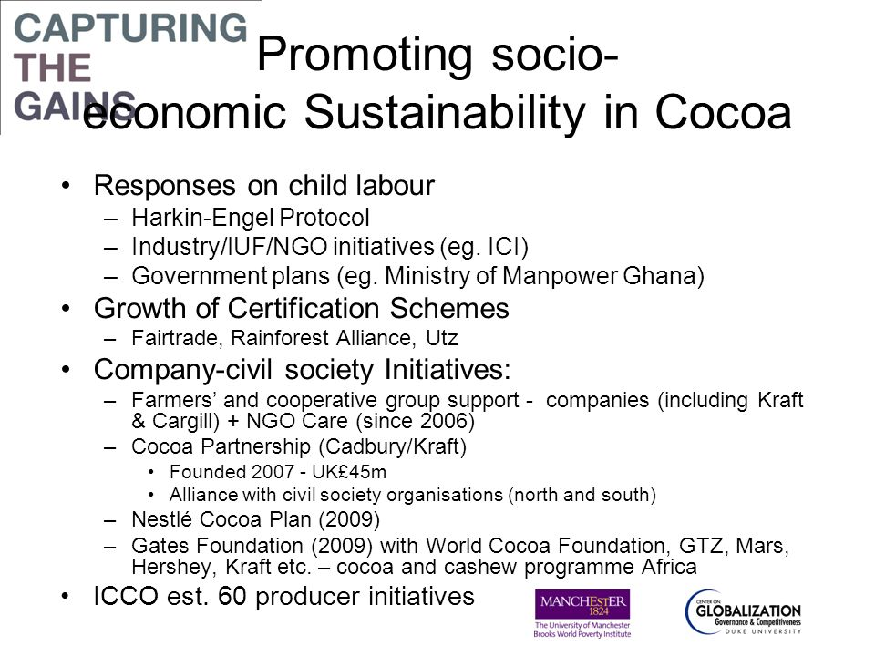 Promoting socio- economic Sustainability in Cocoa Responses on child labour –Harkin-Engel Protocol –Industry/IUF/NGO initiatives (eg. ICI) –Government