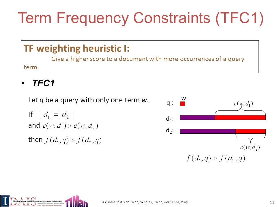 Keynote at ICTIR 2011, Sept. 13, 2011, Bertinoro, Italy d2:d2: d1:d1: Term Frequency Constraints (TFC1) TFC1 TF weighting heuristic I: Give a higher s
