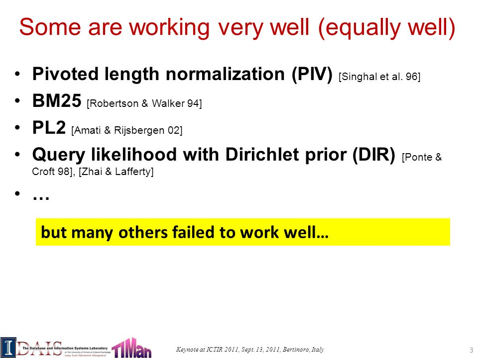 Keynote at ICTIR 2011, Sept. 13, 2011, Bertinoro, Italy Some are working very well (equally well) Pivoted length normalization (PIV) [Singhal et al. 9