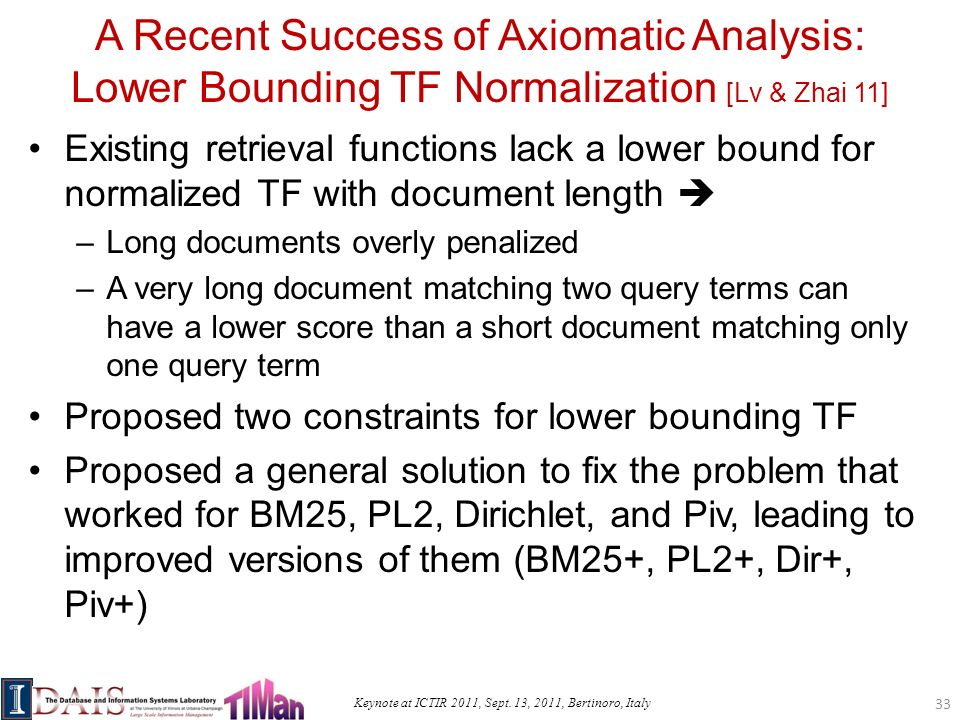 Keynote at ICTIR 2011, Sept. 13, 2011, Bertinoro, Italy A Recent Success of Axiomatic Analysis: Lower Bounding TF Normalization [Lv & Zhai 11] Existin