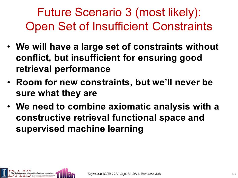 Keynote at ICTIR 2011, Sept. 13, 2011, Bertinoro, Italy Future Scenario 3 (most likely): Open Set of Insufficient Constraints We will have a large set