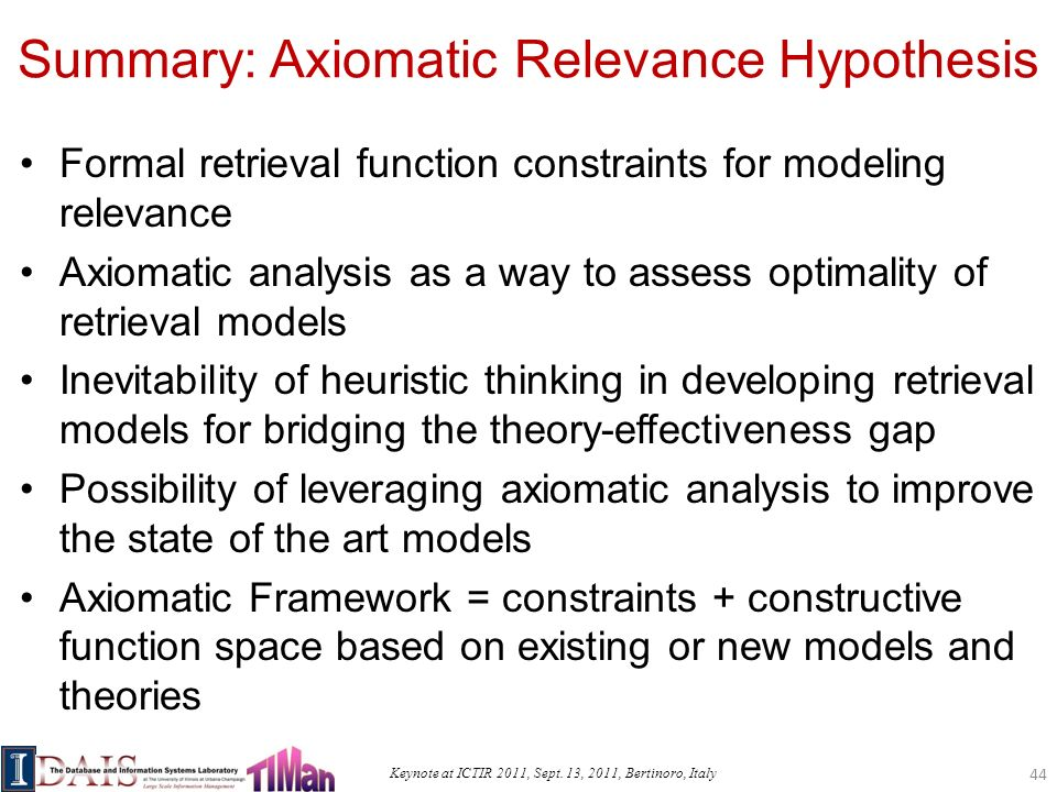 Keynote at ICTIR 2011, Sept. 13, 2011, Bertinoro, Italy Summary: Axiomatic Relevance Hypothesis Formal retrieval function constraints for modeling rel
