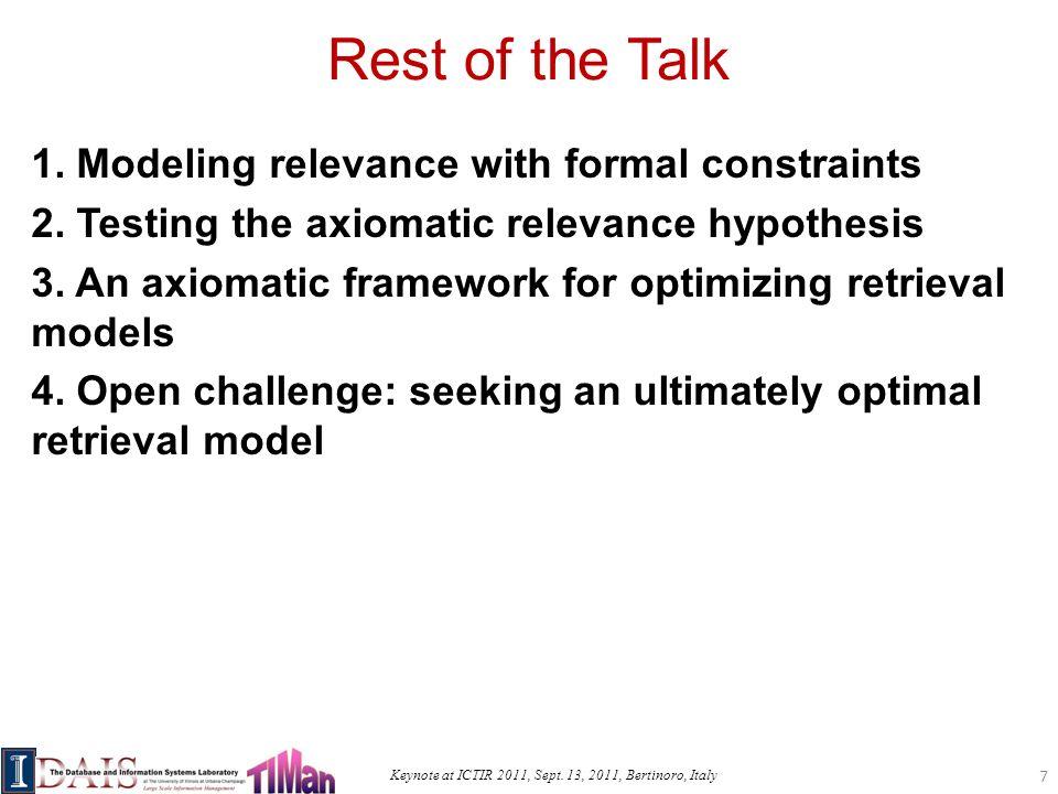 Keynote at ICTIR 2011, Sept. 13, 2011, Bertinoro, Italy Rest of the Talk 1.