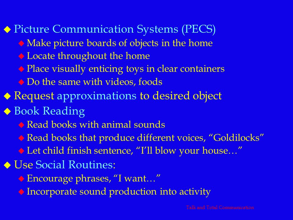 u Picture Communication Systems (PECS) u Make picture boards of objects in the home u Locate throughout the home u Place visually enticing toys in cle