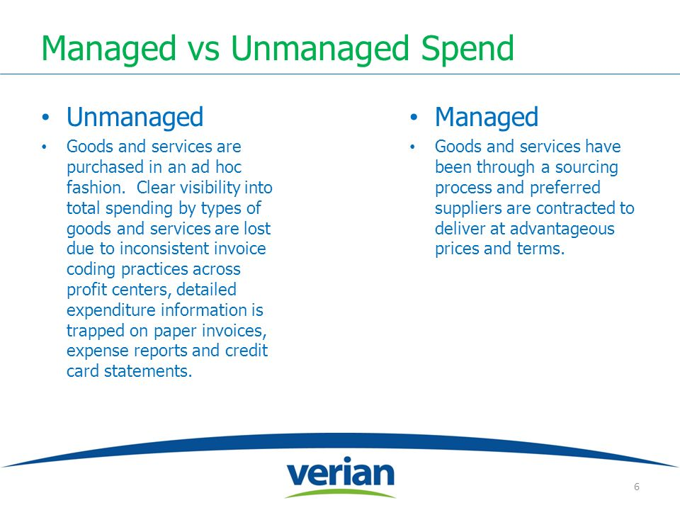 Managed vs Unmanaged Spend Unmanaged Goods and services are purchased in an ad hoc fashion. Clear visibility into total spending by types of goods and