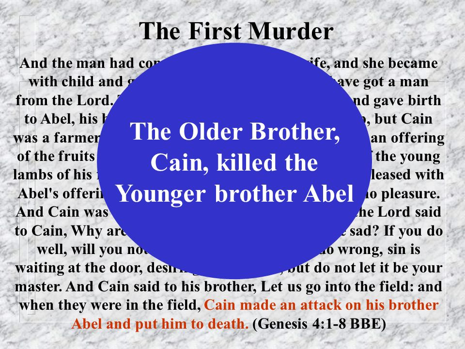 And the man had connection with Eve his wife, and she became with child and gave birth to Cain, and said, I have got a man from the Lord. Then again s