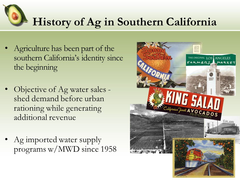 Southern California Ag Today Agriculture and related businesses contribute $40B to southern California economy San Diego, Riverside, & Ventura counties ranked among top 10 Ag counties in CA* Average value of farm products sold per acre in southern California exceeds almost all other regions nationwide Ag generates about 450K jobs * Based on the market value of Ag products sold