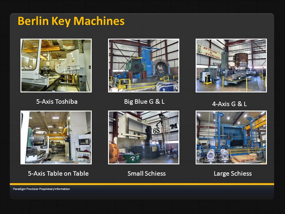 Berlin Key Machines 5-Axis ToshibaBig Blue G & L 4-Axis G & L 5-Axis Table on TableSmall SchiessLarge Schiess Paradigm Precision Proprietary Informati