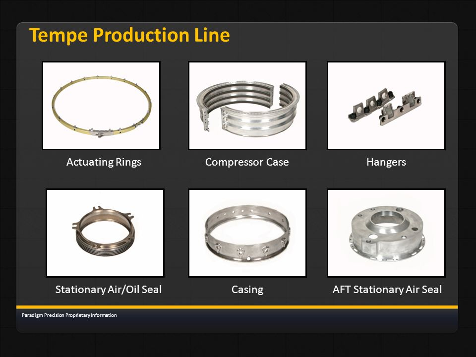 Tempe Production Line Actuating RingsHangersCompressor Case Stationary Air/Oil SealCasingAFT Stationary Air Seal Paradigm Precision Proprietary Inform