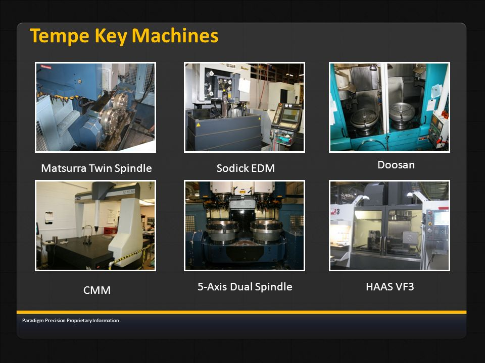Tempe Key Machines Matsurra Twin SpindleSodick EDM Doosan CMM 5-Axis Dual SpindleHAAS VF3 Paradigm Precision Proprietary Information