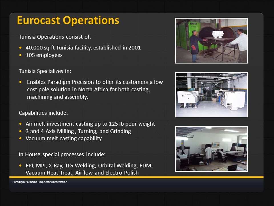 Eurocast Operations Tunisia Operations consist of: 40,000 sq ft Tunisia facility, established in 2001 105 employees Tunisia Specializes in: Enables Pa